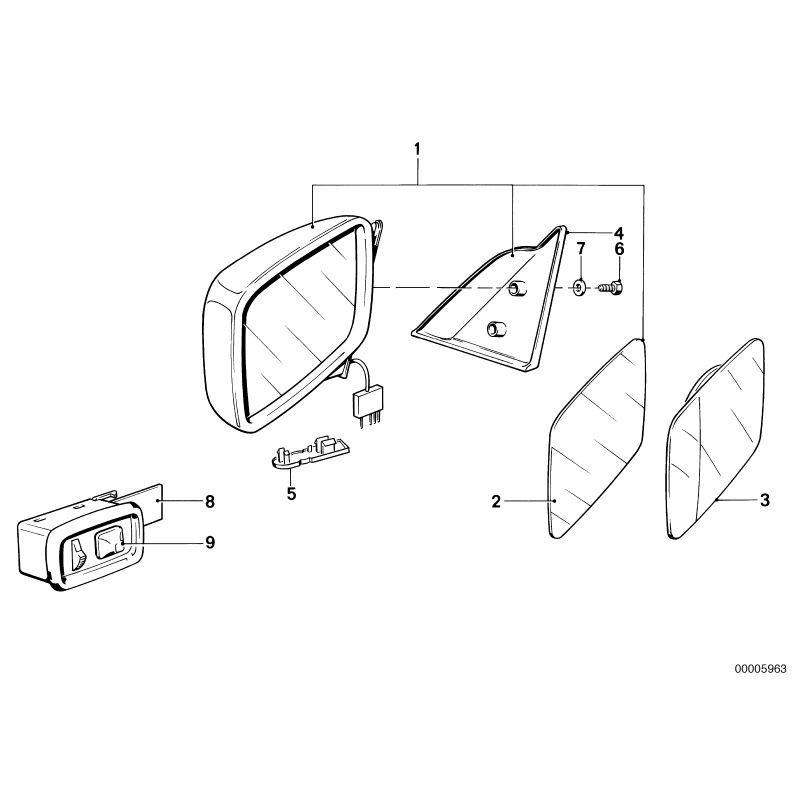 Espejo retrovisor manual derecho Bmw E28