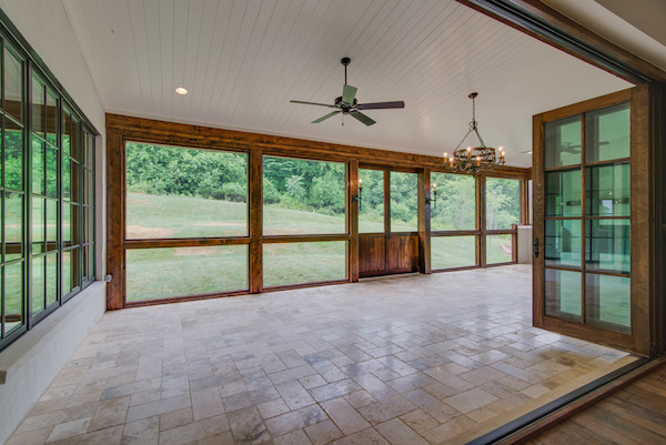Beautiful Contemporary Tuscan Home, Jeld-Wen Doors open to covered porch, Carbine & Associates, Franklin, TN