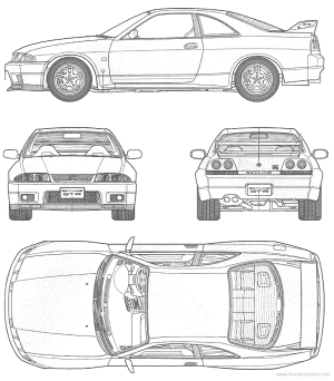 CAR blueprints  Nissan Skyline GTR R33 blueprints, vector drawings, clipart and pdf templates