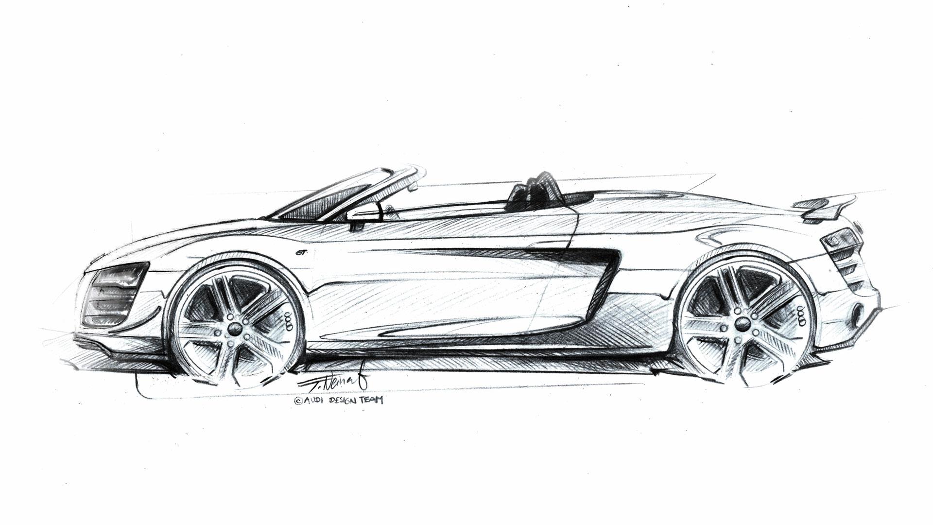 Audi R8 Gt Spyder Design Sketch Sketch Coloring Page