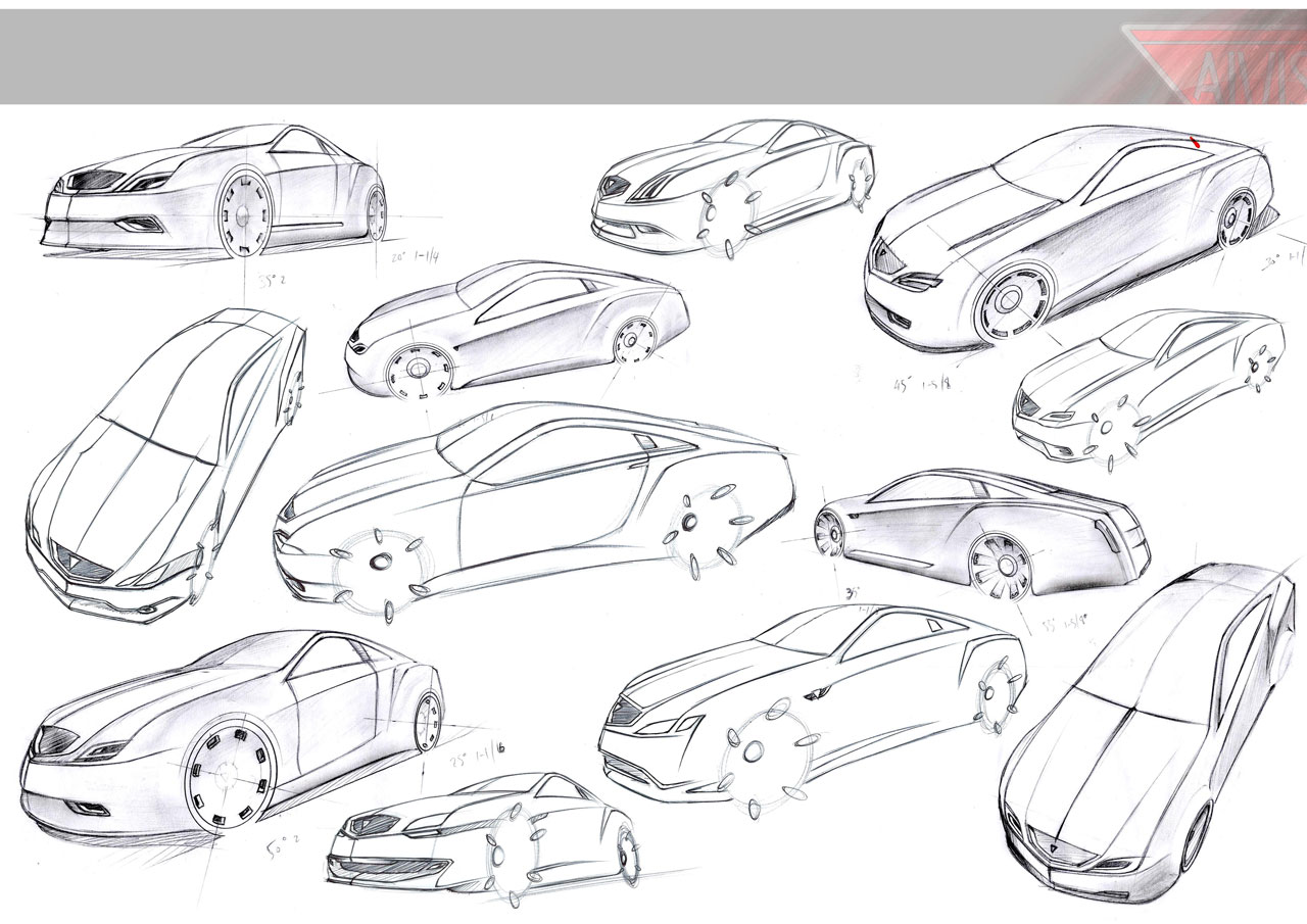 Concept Car Sketches Drawings Sketch Coloring Page