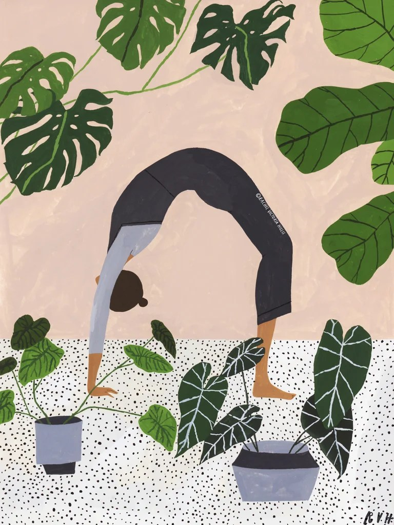 woman doing yoga in a pink, plant filled room - the crab.