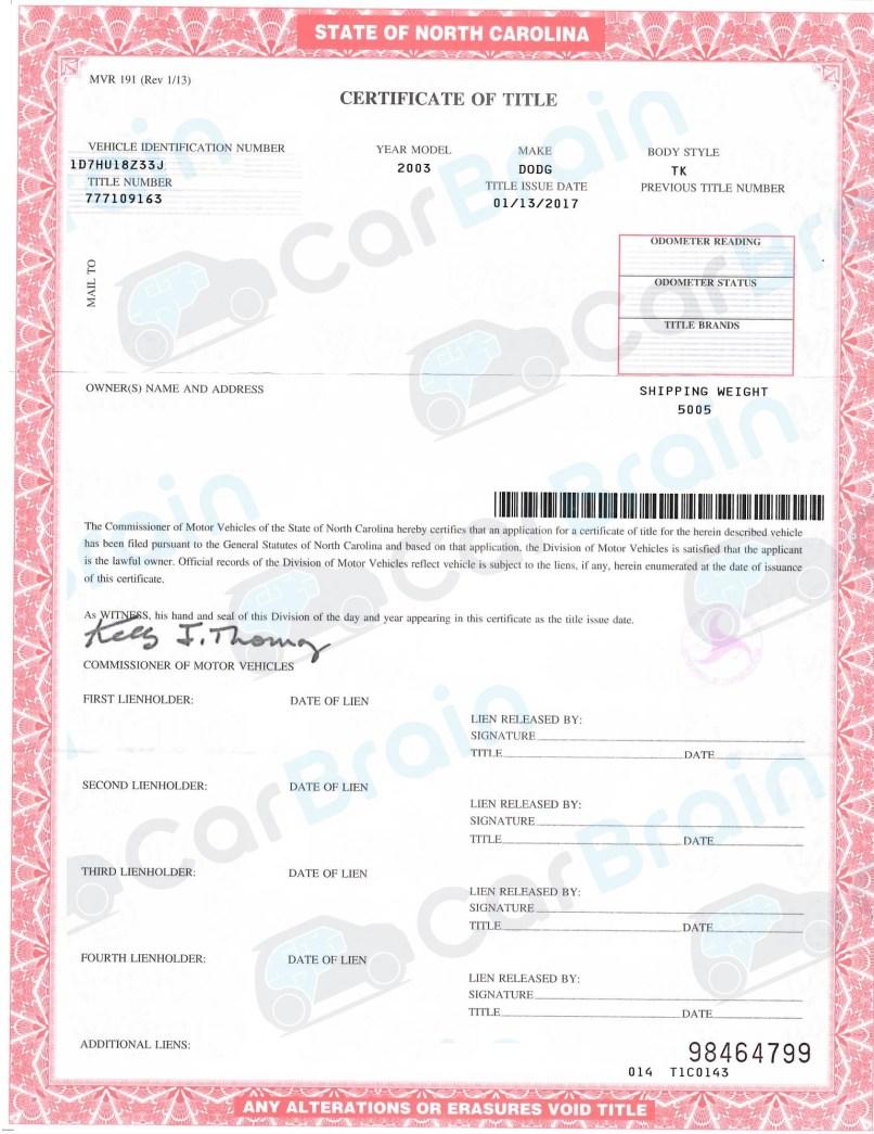 North Carolina Department Of Motor Vehicles Titles