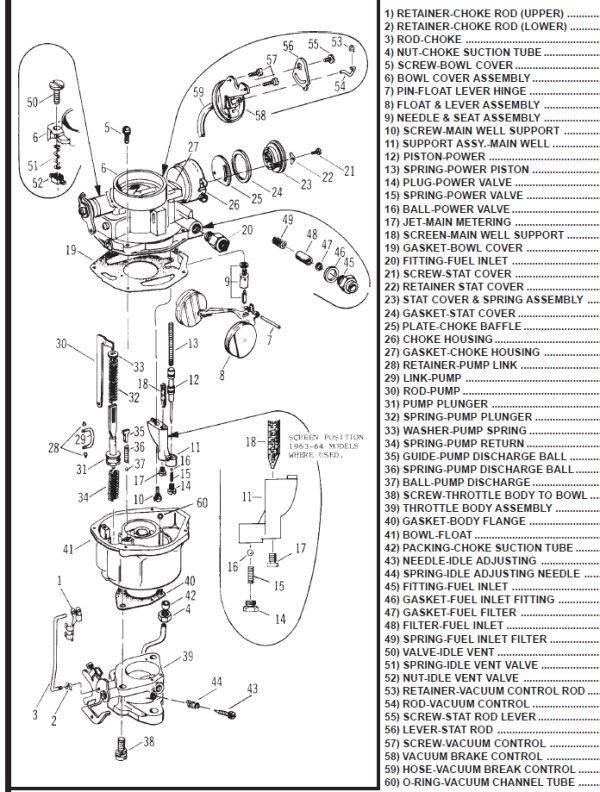 Rochester 1 Barrel Carburetor Diagram : rochester, barrel, carburetor, diagram, Rochester, Parts