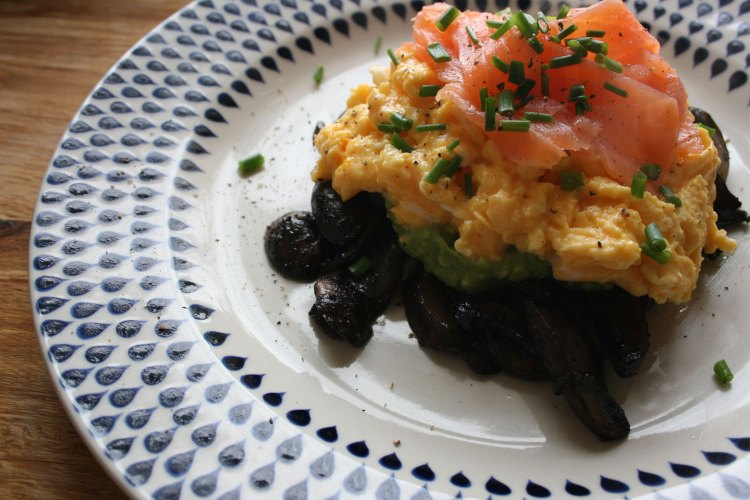 Zero carb breakfast or brunch - smoked salmon, scrambled eggs, mushrooms and avocado