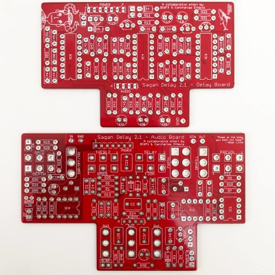 Sagan Delay V2 by DC6FX top view dual stacked PCBs for DIY projects scaled