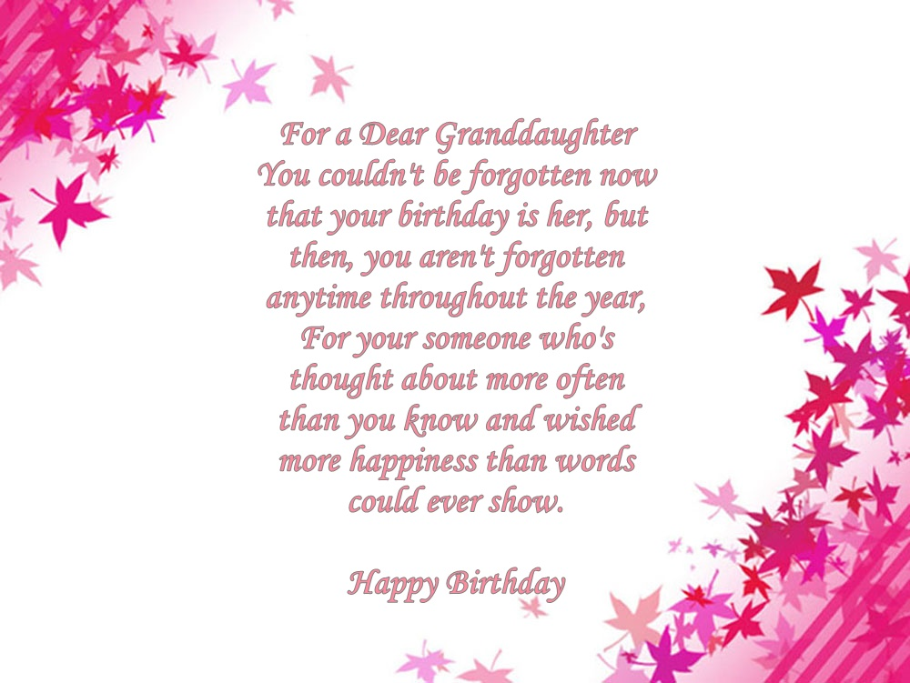 Granddaughter Birthday Verses Card Verses Greetings And