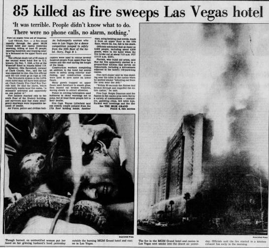 MGM Grand Fire – November 21, 1980