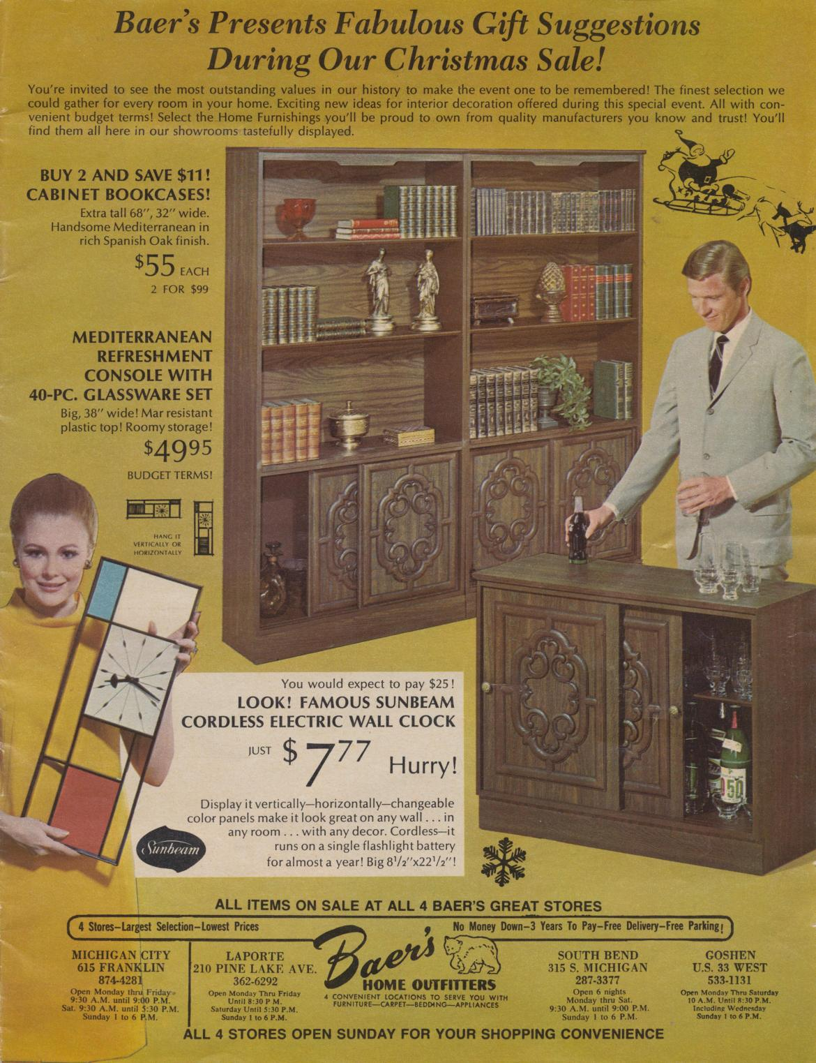 Baer's Home Outfitters – 1967 Christmas Mailer