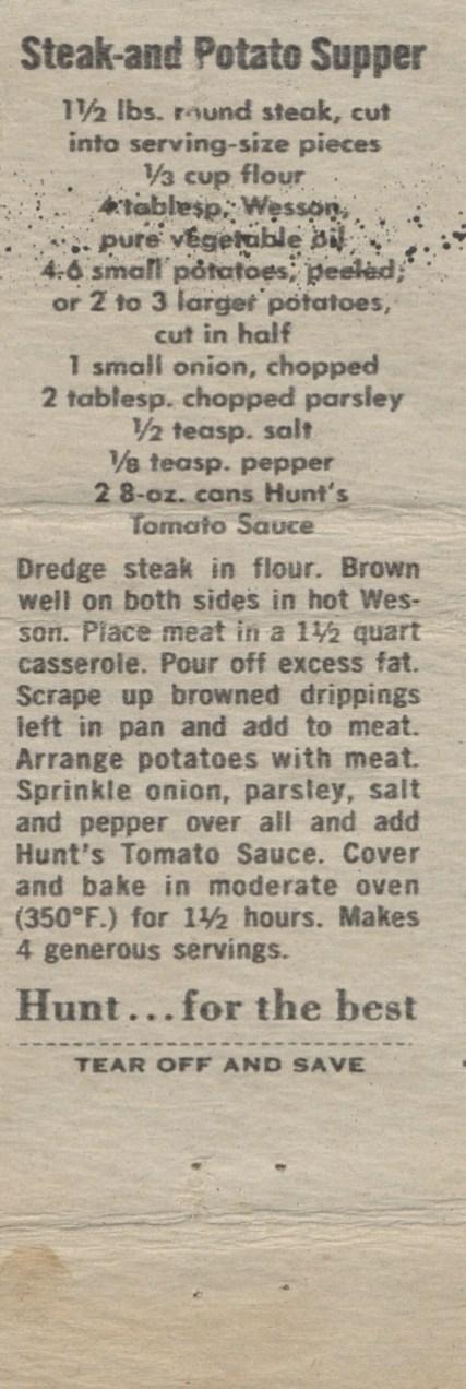 Steak and Potato Supper, 1960 (2)