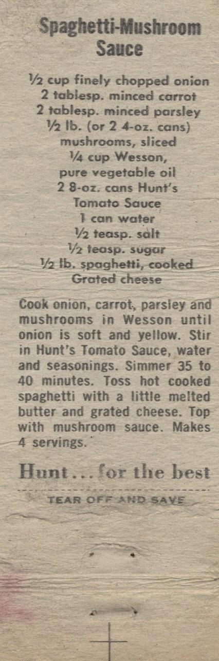 Spaghetti Mushroom Sauce, 1960 (2)