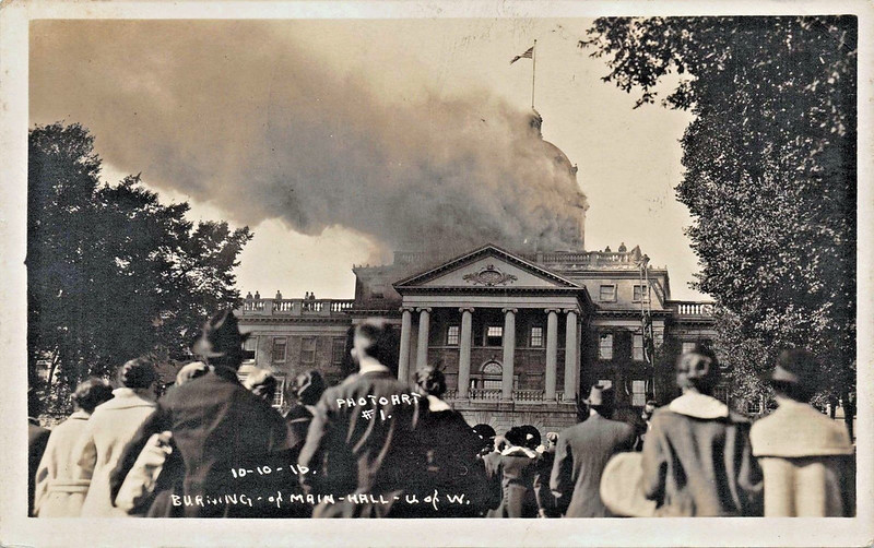 Burning of Main Hall at University of Wisconsin – Madison, Wisconsin