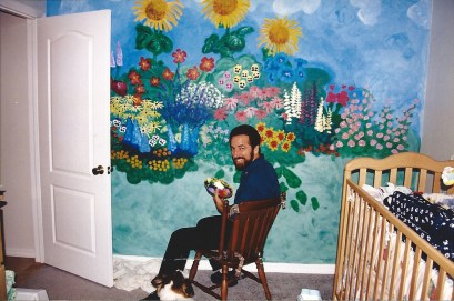 I had fun creating a bright flower garden for our son's room. 1998.