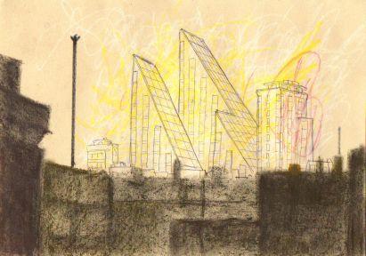 Awake Sketch 20 | Schizzo sveglio 20, pastel, pencil and ball pen on paper, 2014