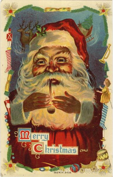 Merry Christmas Santa Smoking Pipe Santa Claus