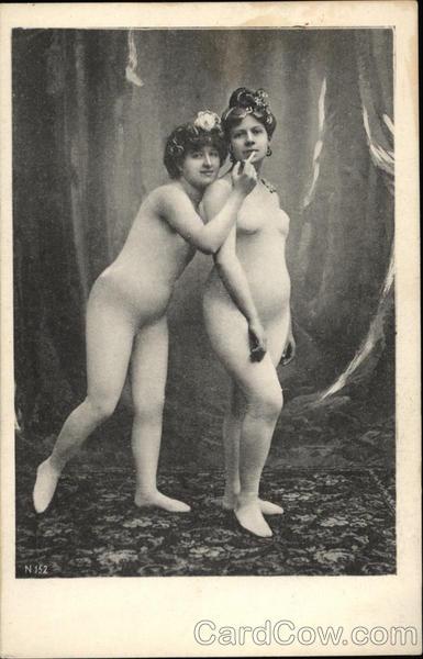 Two Vintage Women in Flesh Leotards Sharing Cigarette