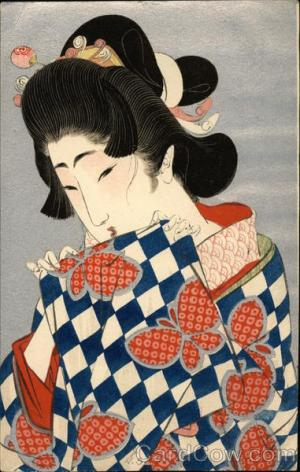 geisha japanese drawing signed japan cardcow