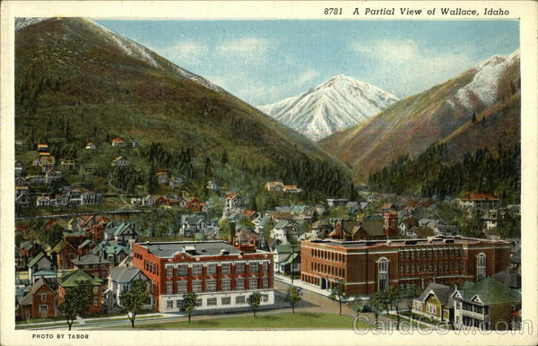 Partial Mountain And Town View Wallace ID Postcard