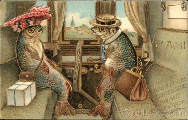 Anthropomorphic Fish Riding Train French Language April