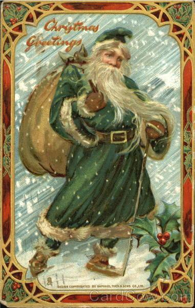 Santa With Green Cape Santa Claus