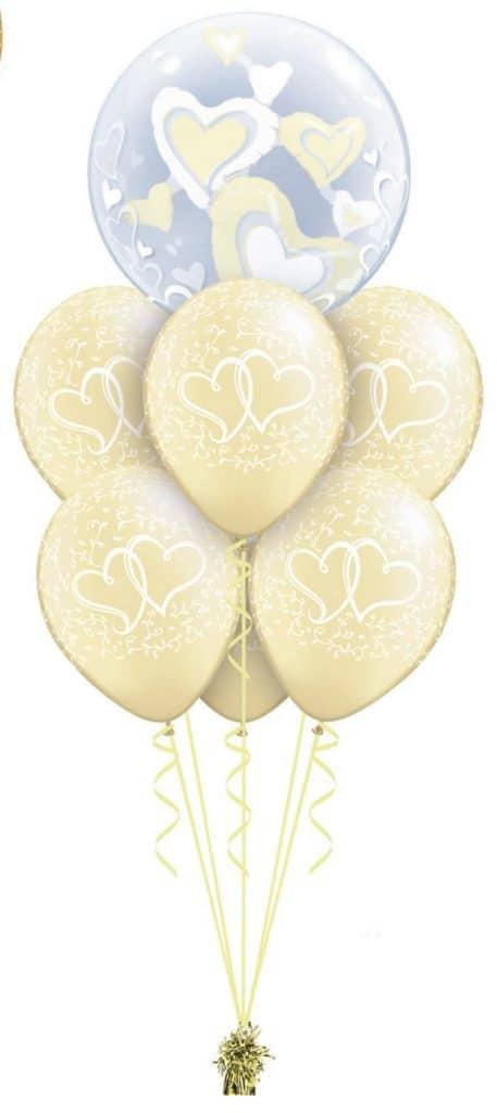 White & Ivory Hearts Double Bubble Luxury Image