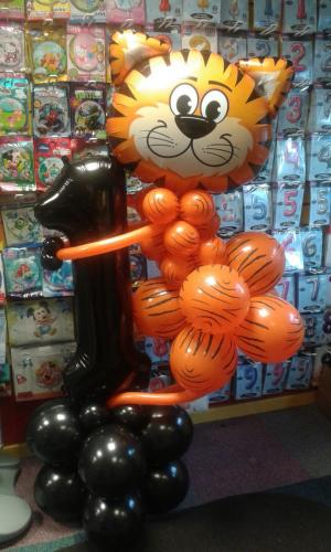Tiger Holding A Number 1. Available In Other Ages and Other Animals From Cardiff Balloons