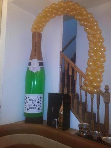 Champagne Bottle With Golden Bubbles At Stefanos Cardiff, by #cardiffballoons #birthdayballoons