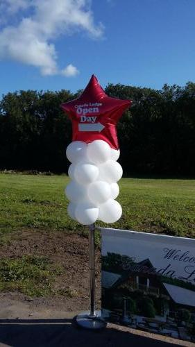 mini lollipop pillar with a giant foil star topper for Canada Lakes by Cardiff Balloons