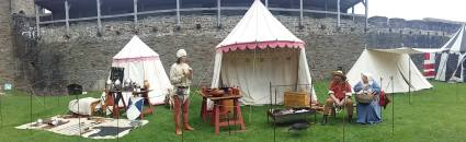 Garrison encampment in Inner Ward of Caerphilly Castle
