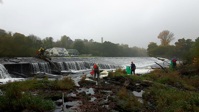 At work on Llandaff Weir
