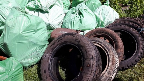 Bags of rubbish and several tyres