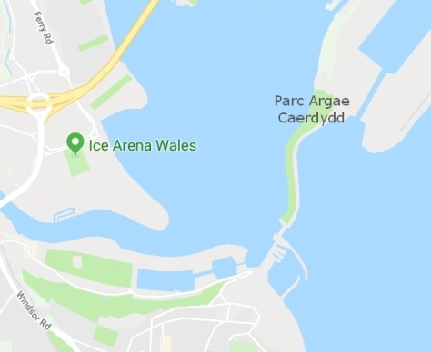 Map showing Parc Argae Caerdydd