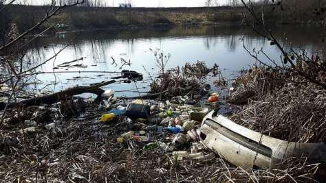 rubbish on the banks of the Taff