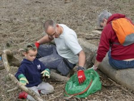 Volunteers picking up polystyrene