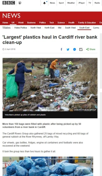 Article about Cardiff Rivers Group on BBC News