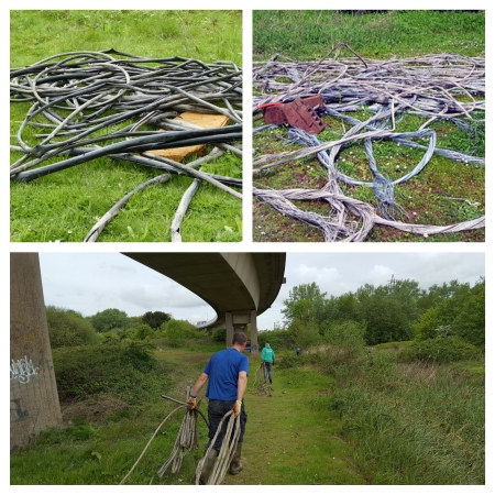 All the stripped cabling we collected