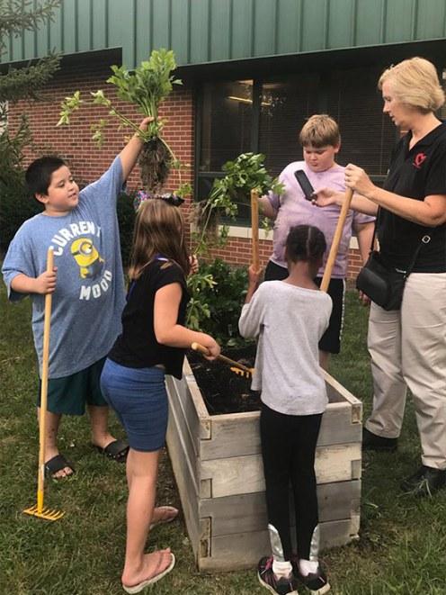 Community garden with kids