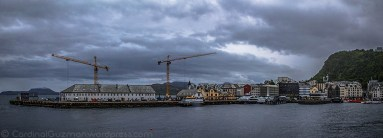 Panoramic view of port area in Ålesund.