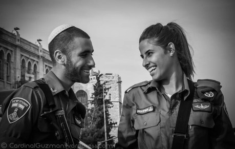 Beautiful officers in Jerusalem.