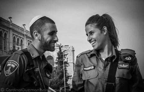 Beautiful officers in Jerusalem.