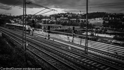 black and white train photography