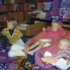 My sister, my older brother and myself, watching some crap on TV in the 70's.