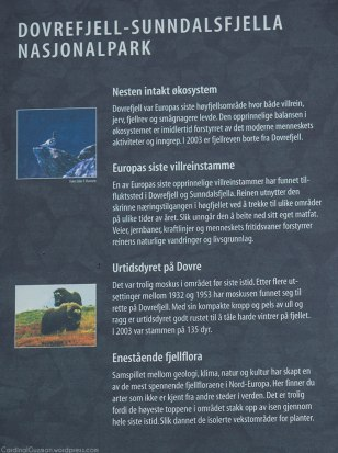Info poster on Dovrefjell–Sunndalsfjella National Park (see the previous post for the full info in English).
