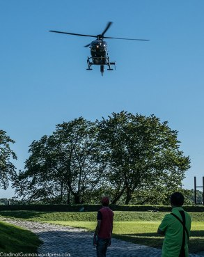 A helicopter landed at Akershus Fortress