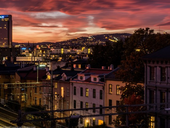 Flaming sunset over Oslo