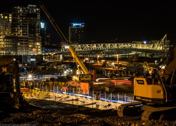 December 2015: Night photography: construction site.