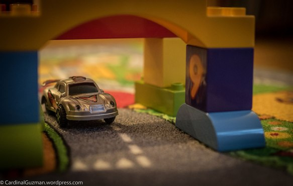 Too cold outside? We're staying inside, playing with cars.
