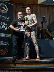Julian Carson with tattoo model inked by George Chou at Funtian Tattoo.