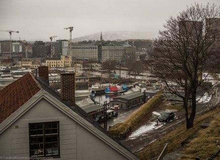 View from Akershus Fortress, Rådhuskaia. City Hall Docks.