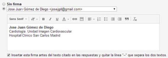 Redes sociales en firma de Gmail: firma